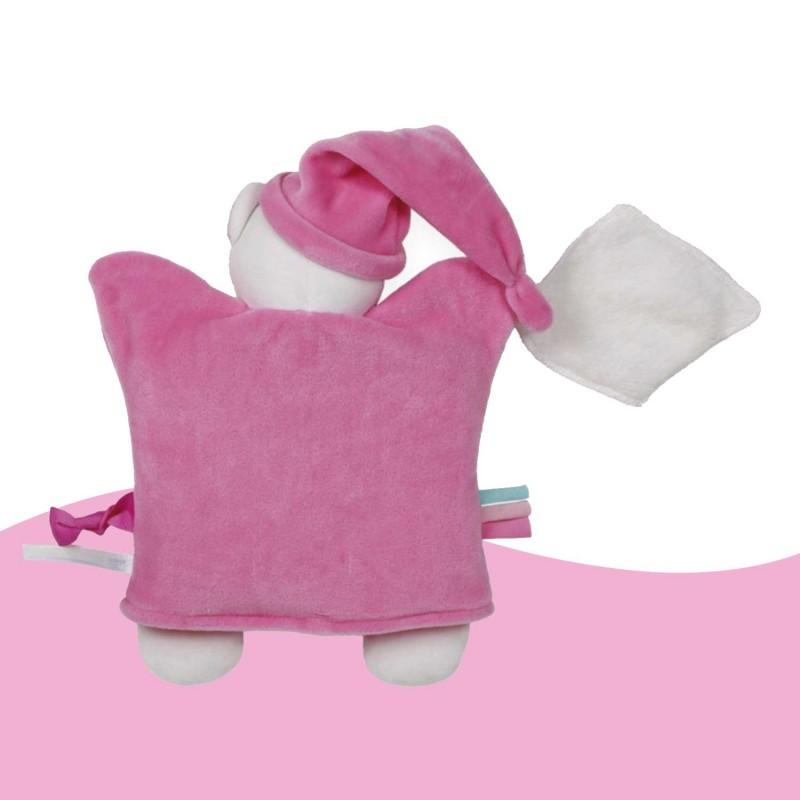 Ourson marionnette rose et doudou tout doux
