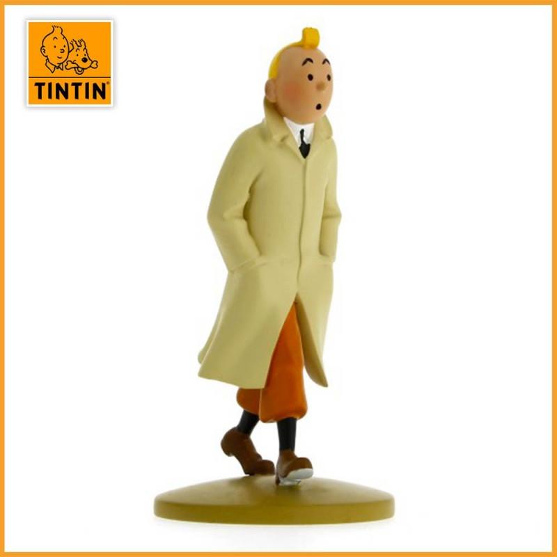Figurine Tintin en trench - Statuette en résine de 12 cm - Moulinsart 42190