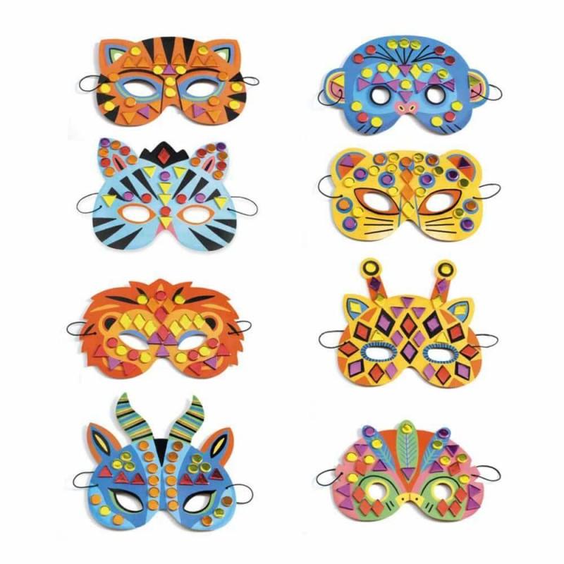8 masques animaux de la jungle à décorer Djeco Do it Yourself