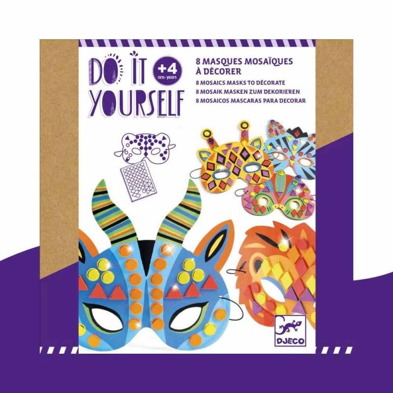 """8 masques mosaïques """"Animaux de la jungle"""" Do It Yourself Djeco"""