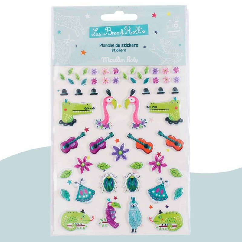 55 stickers 3D flamants roses Les Broc' & Rolls Moulin Roty