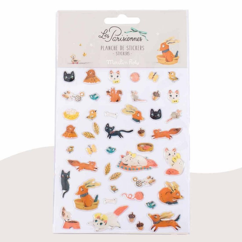 46 stickers animaux Les Parisiennes Moulin Roty