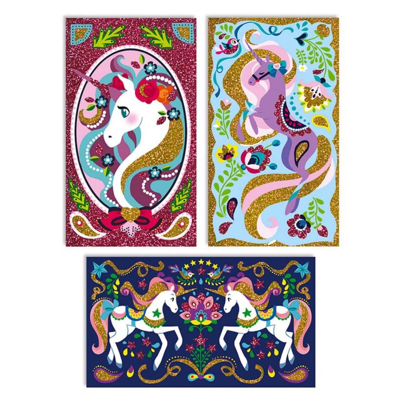 """3 cartes """"licorne"""" à pailleter Janod"""