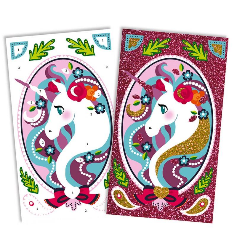 Les cartes licornes à décorer avec les paillettes