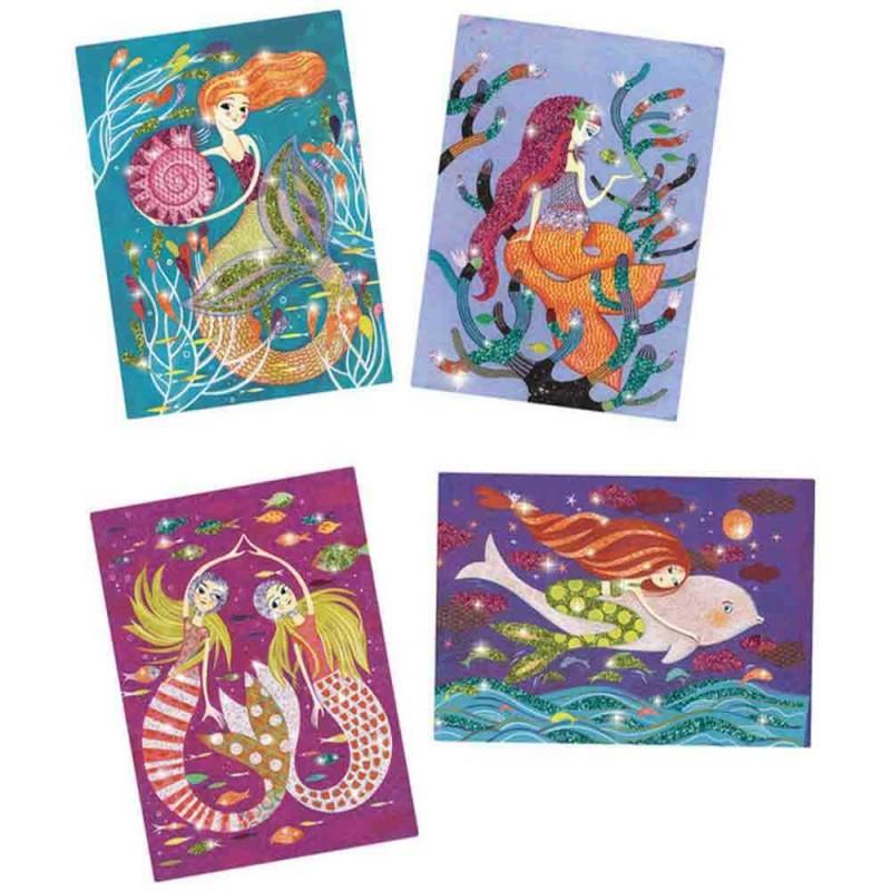 Les 4 tableaux à pailleter sur le thème de sirènes