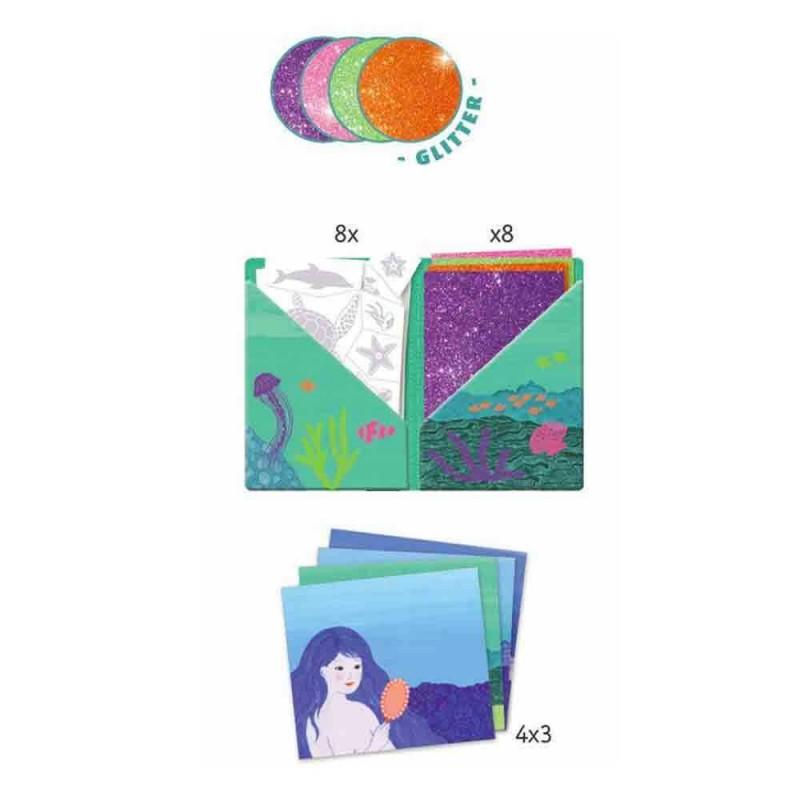 Le contenu du kit créatif Océane Artistic Patch Paillettes Djeco