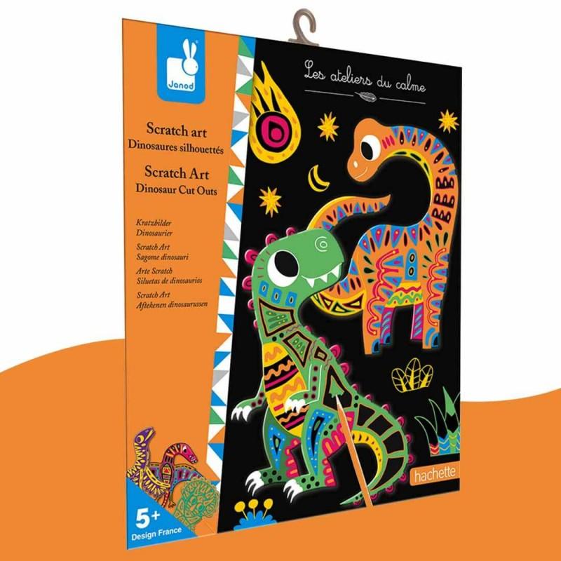 Kit créatif Scratch Art Dinosaures Silhouettés Janod