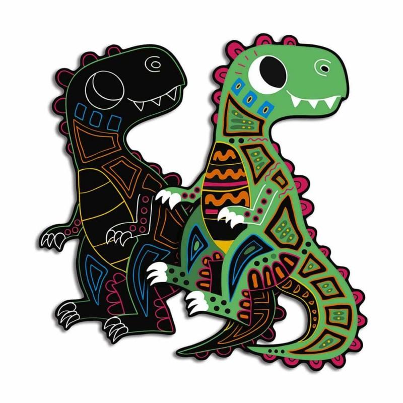 Le dinosaure T-Rex avant et après le grattage de l'atelier créatif Janod.
