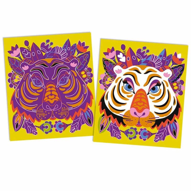 Le portrait du tigre avant et après le grattage de l'atelier créatif Janod.
