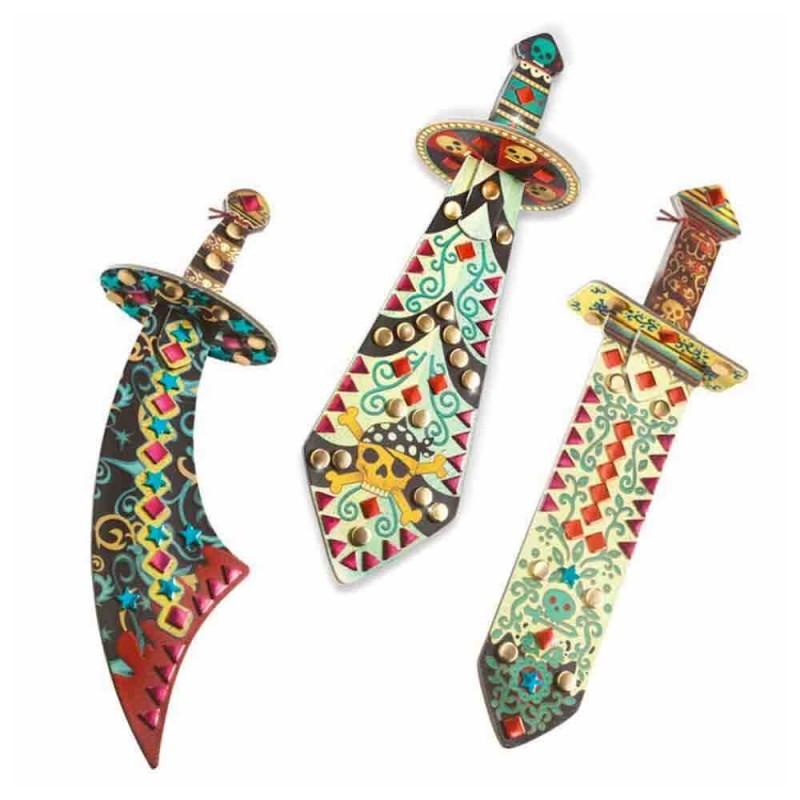 Les 3 sabres en carton épais à décorer pour les enfants