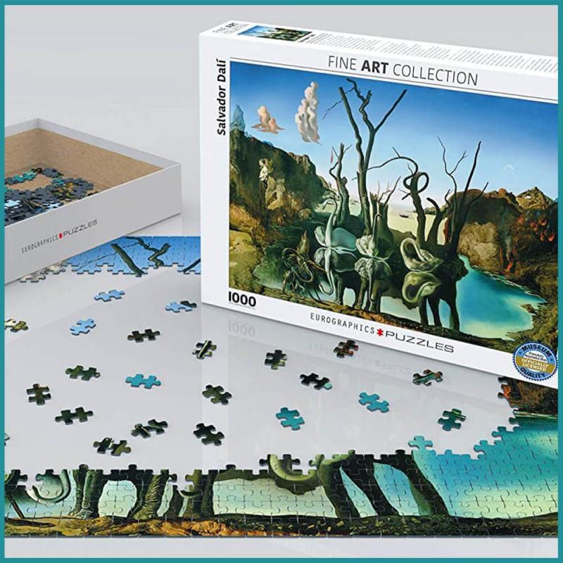 Mise en scène du Puzzle Salvador Dahi - Swans Reflecting Elephants Eurographics