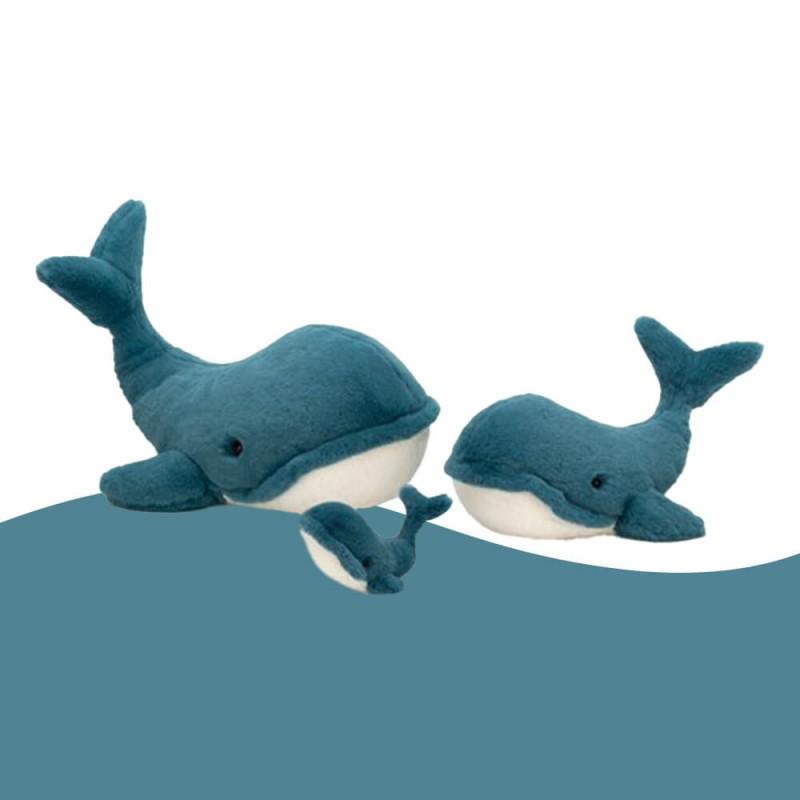 3 tailles de Wally la baleine en peluche de Jellycat