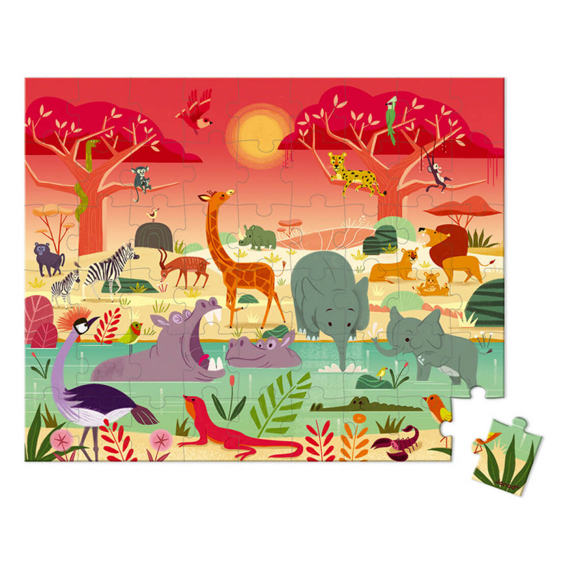Puzzle chevalier animaux de la savane enfant 5 ans 54 pièces Janod
