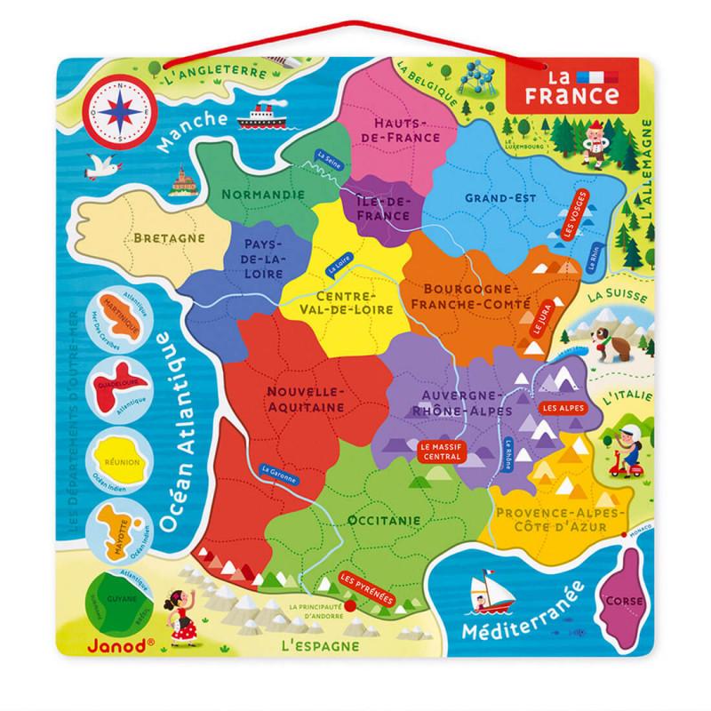Les régions française puzzle éducatif et ludique Janod