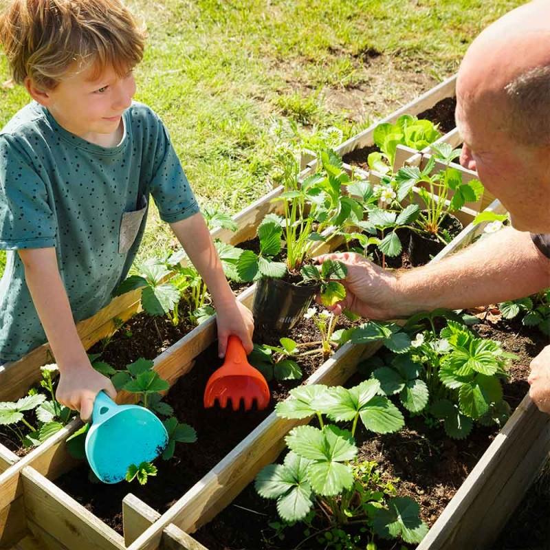 Quut Raki Orange et Bleu - Râteau et pelle 2-en-1 pour la jardinage