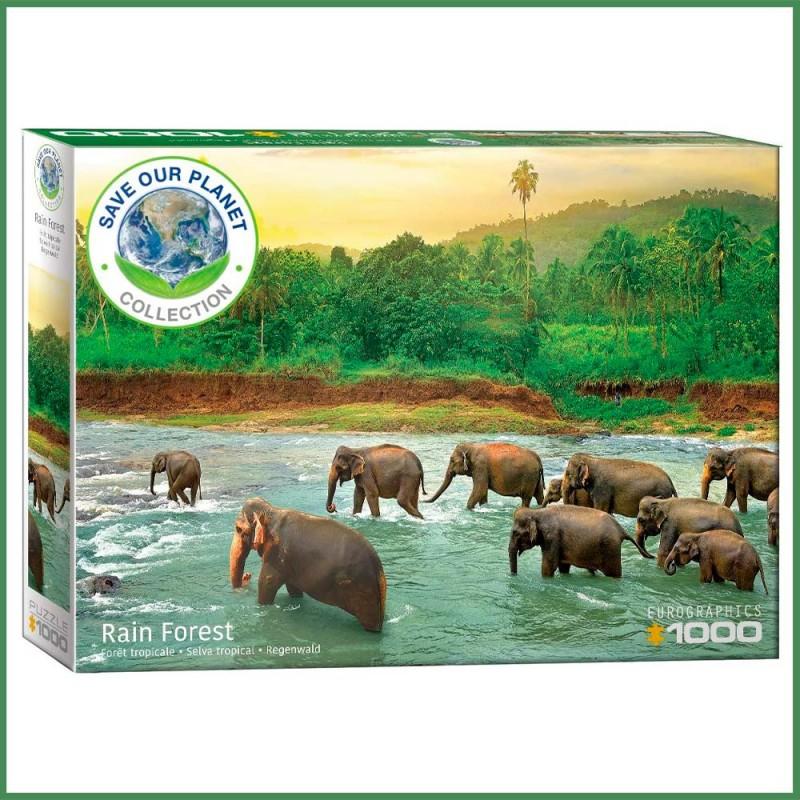 Puzzle Forêt tropicale & éléphants - 1000 pièces - Eurographics