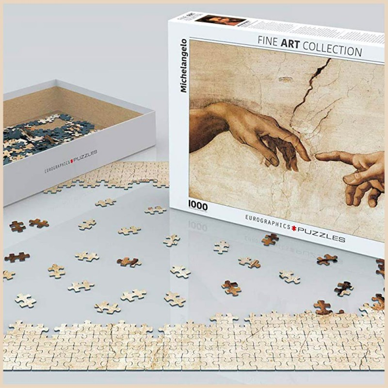 Puzzle Michel-Ange Création d'Adam - 1000 pièces - Eurographics - Mise en scène