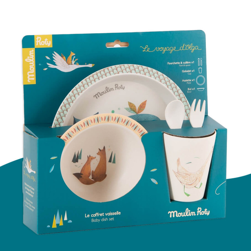 Set vaisselle en bambou Le Voyage d'Olga Moulin Roty