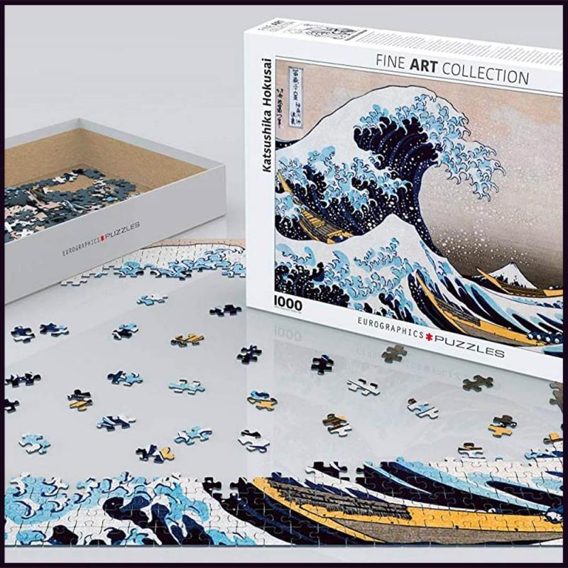 Puzzle La Grande Vague de Kanagawa par Katsushika Hokusai - 1000 pièces - Eurographics - Mise en scène