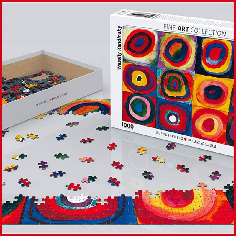 Puzzle Etude de couleurs de carrés de Wassily Kandinsky - Mise en scène