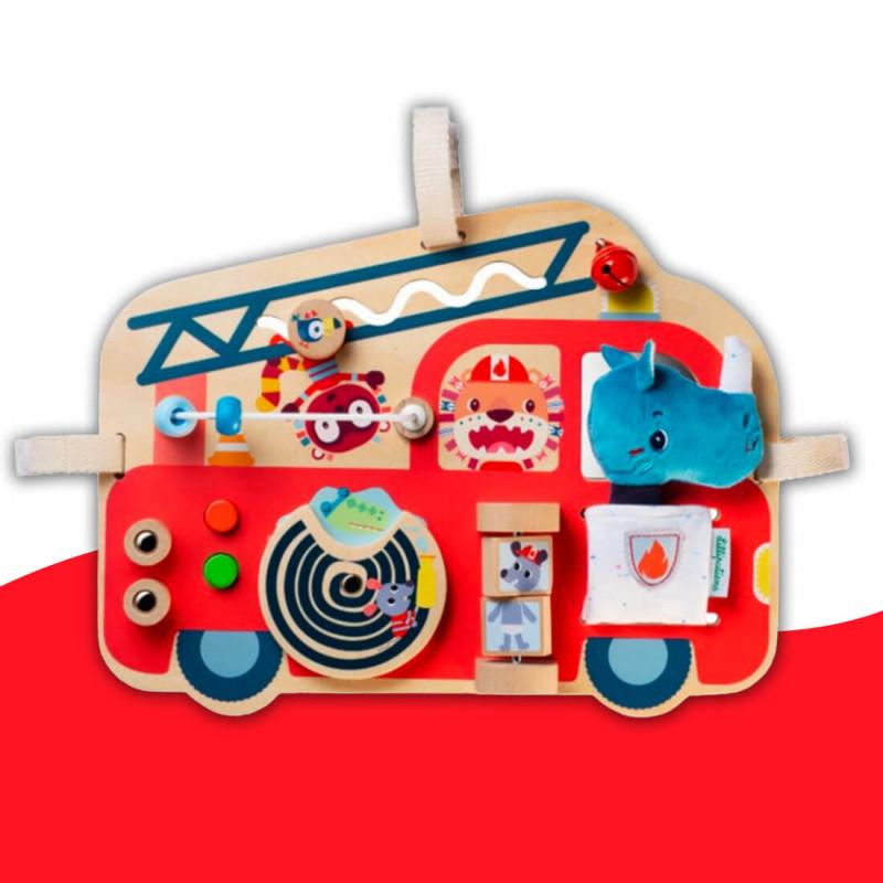 Panneau d'activités en bois Camion de pompier Lilliputiens