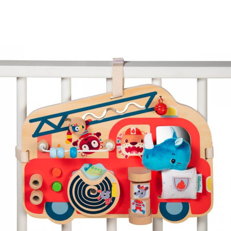 Panneau d'éveil en bois à fixer sur le lit de bébé.