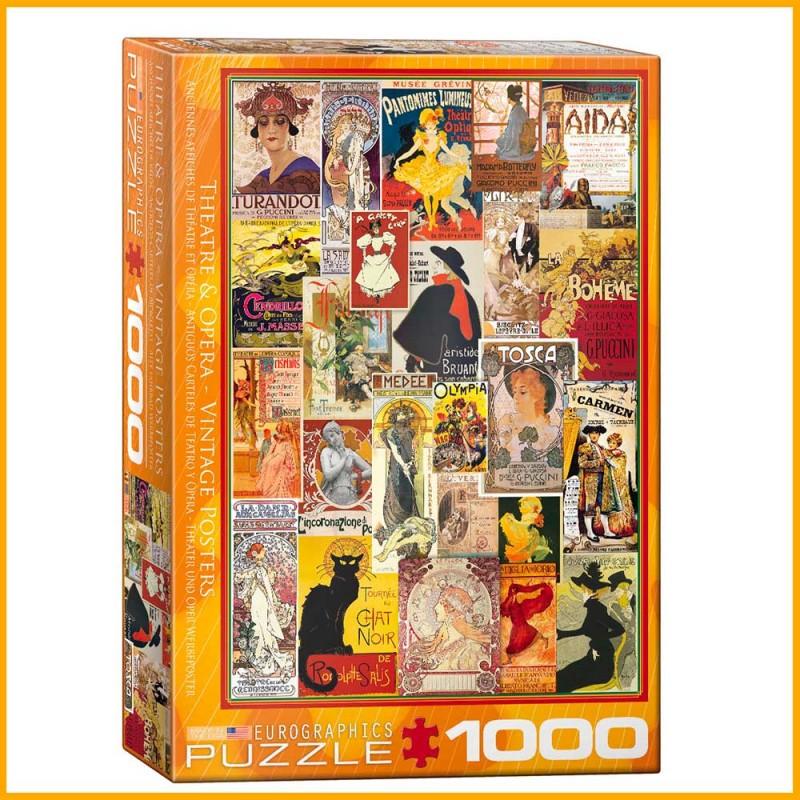 Puzzle Anciennes Affiches de Théâtre et d'Opéra - 1000 pièces - Eurographics