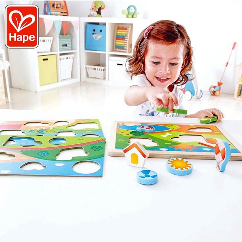 Puzzle 3 en 1 Puppy et ses amis en bois pour bébé - Mise en scène