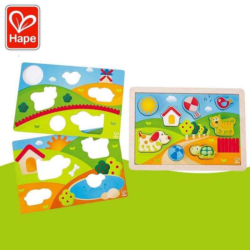 Puzzle 3 en 1 Puppy et ses amis - Puzzle bébé (12 mois) en bois - Hape