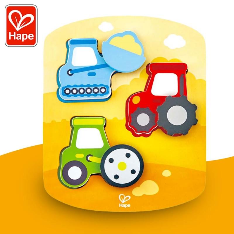 Puzzle animé construction bébé - Puzzle encastrement bois Hape