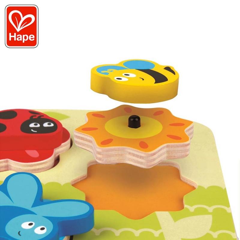 Puzzle dynamique Insectes - Puzzle encastrement bois avec pièces animées by Hape