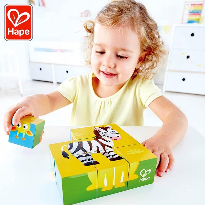 Puzzle Cubes Animaux de la Jungle - Puzzle en bois by Hape -Mise en scène zèbre