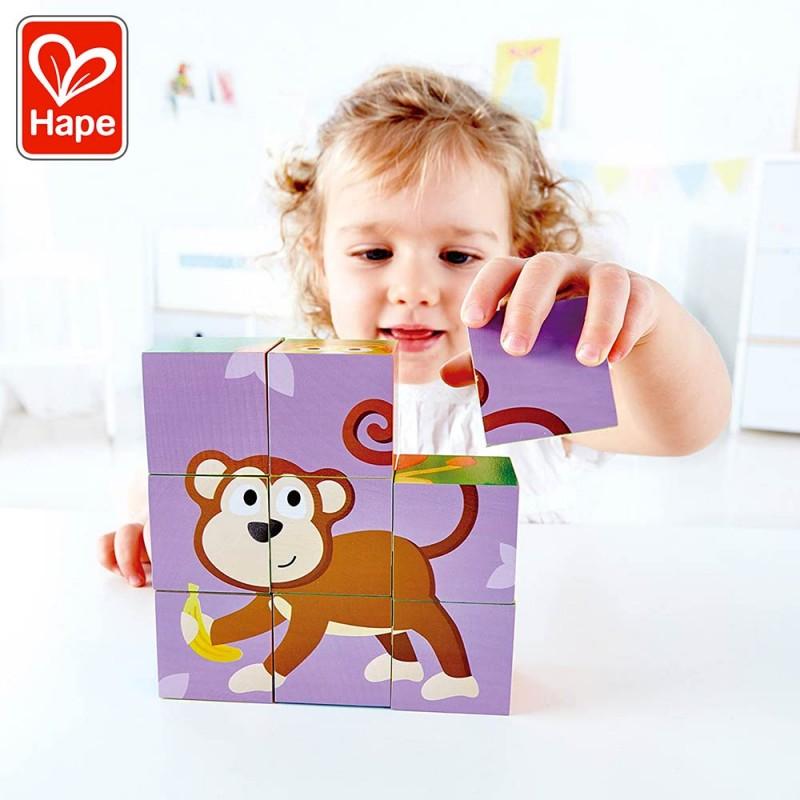 Puzzle Cubes Animaux de la Jungle - Puzzle en bois by Hape - Mise en scène singe