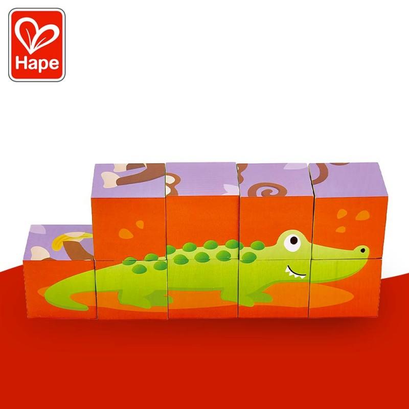 Puzzle 9 Cubes Animaux de la Jungle - Puzzle en bois by Hape