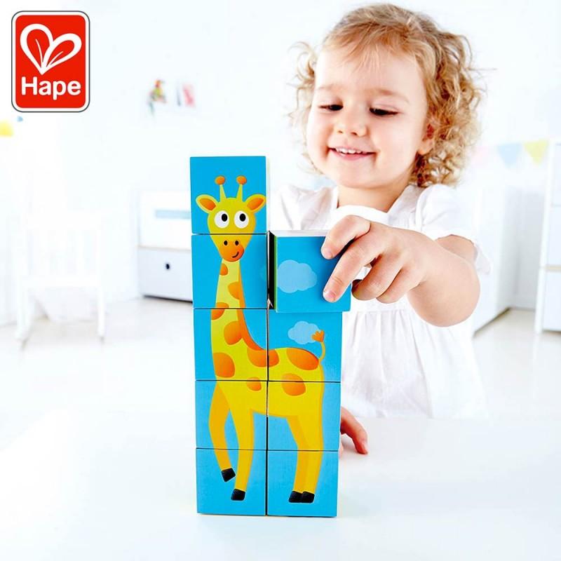 Puzzle Cubes Animaux de la Jungle - Puzzle en bois by Hape - Mise en scène girafe