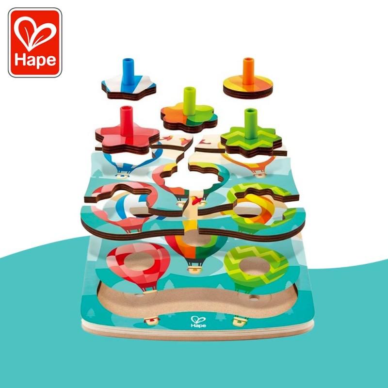 Puzzle toupies montgolfières en bois by Hape