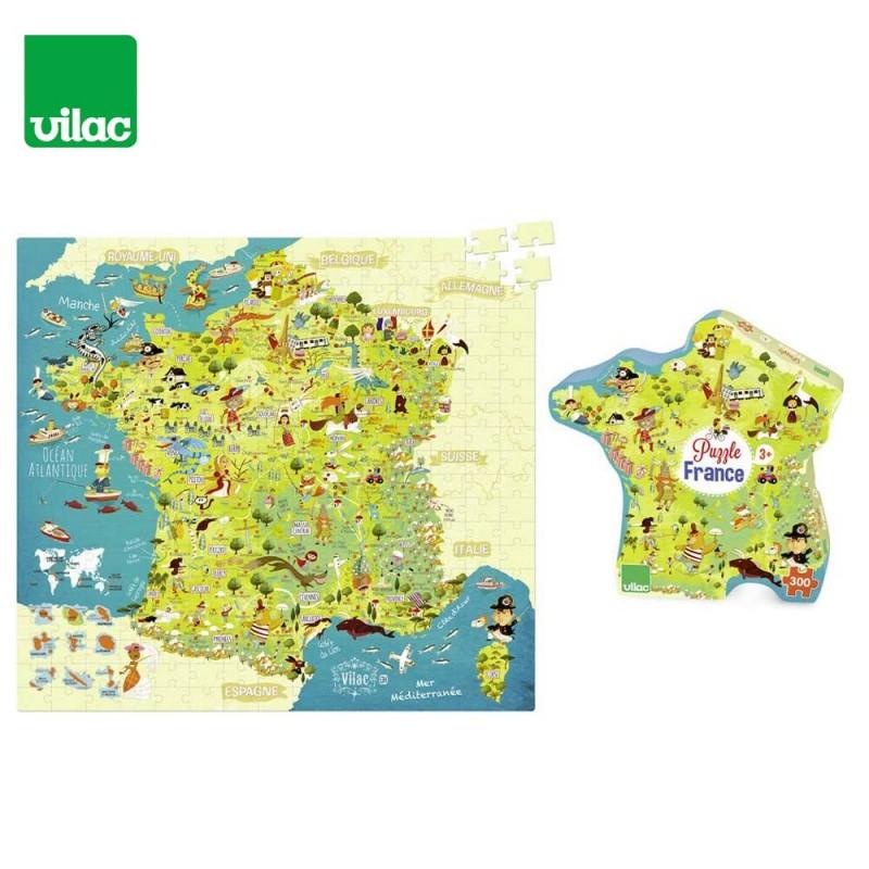 Puzzle Carte des Merveilles De France 300 Pièces by Vilac - boite et puzzle
