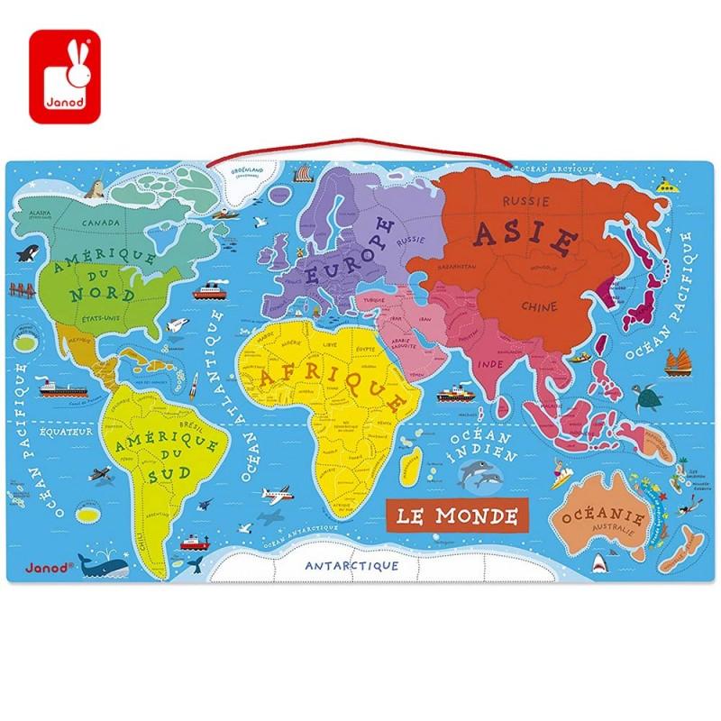 Puzzle Carte du Monde Magnétique en Bois jeu éducatif pour les enfants
