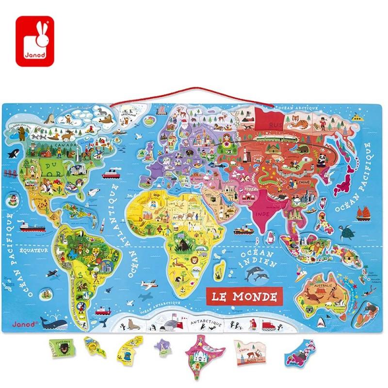 Puzzle Carte du Monde Magnétique en Bois de 92 Pièces Aimantées par Janod