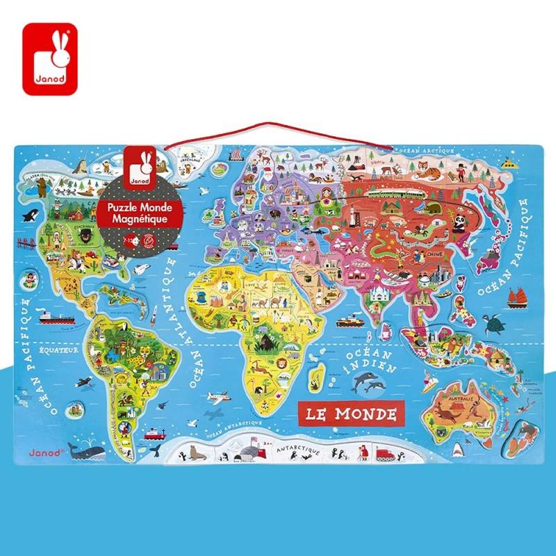 Puzzle Carte du Monde Magnétique en Bois - 92 Pièces Aimantées by Janod
