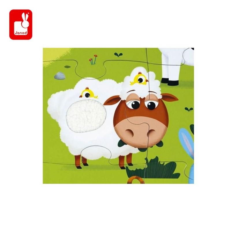 Puzzle tactile les animaux de la ferme par Janod -  Le mouton