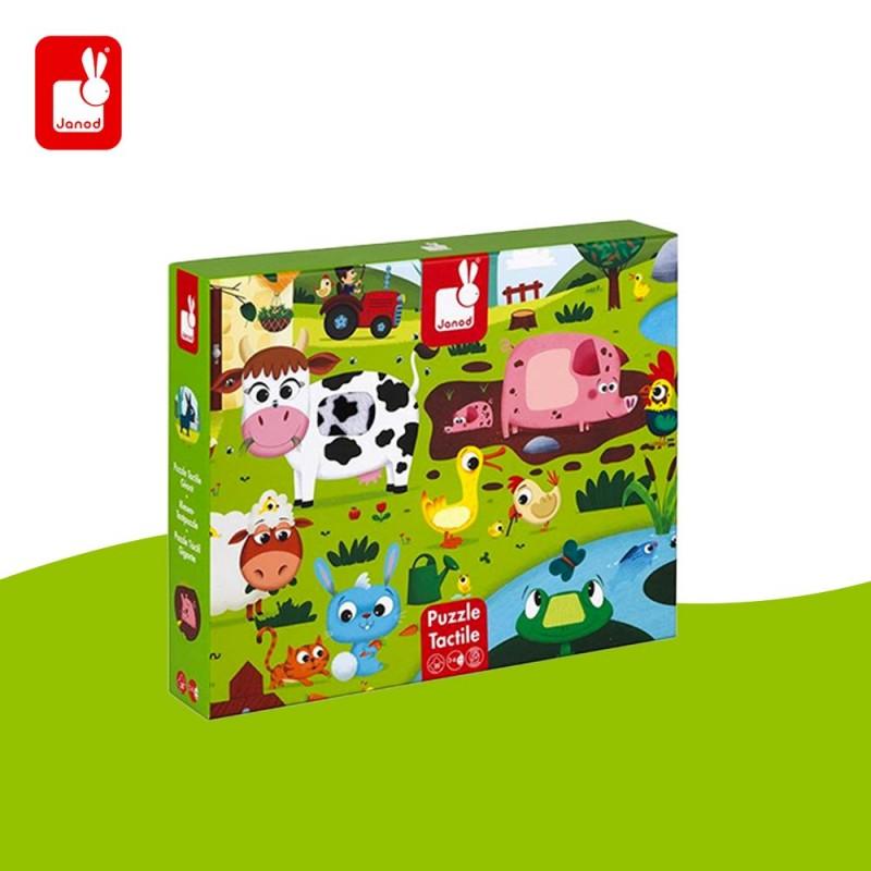 Puzzle tactile les animaux de la ferme par Janod - boite
