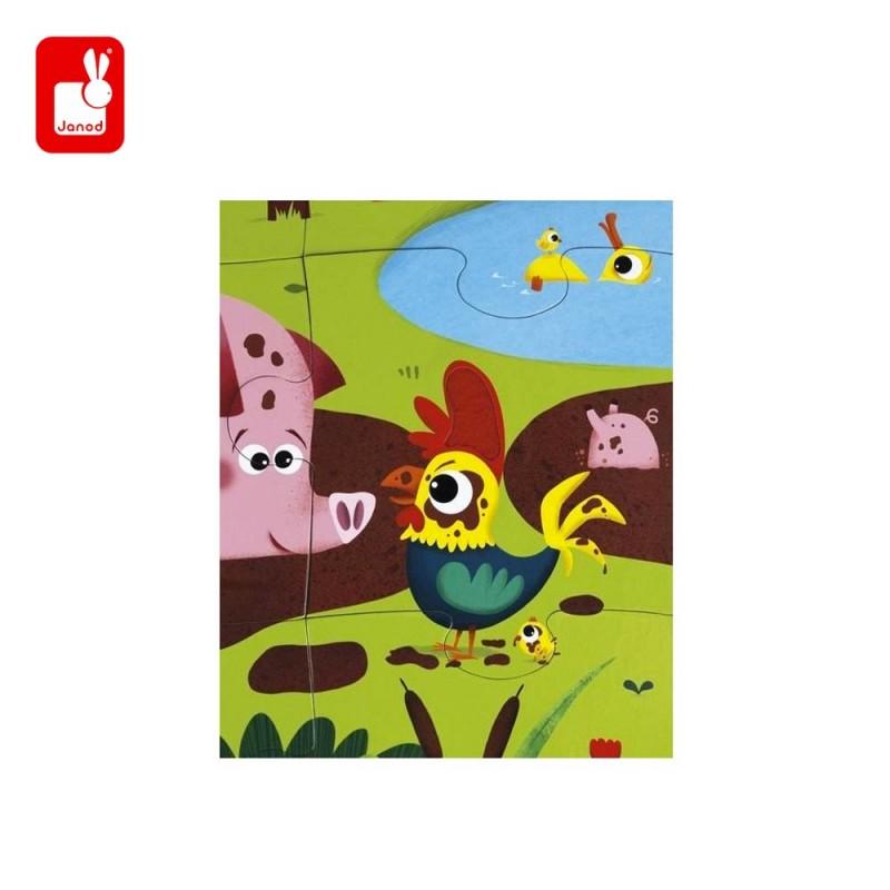 Puzzle tactile les animaux de la ferme par Janod - le coq