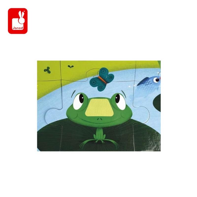 Puzzle tactile les animaux de la ferme par Janod - la grenouille