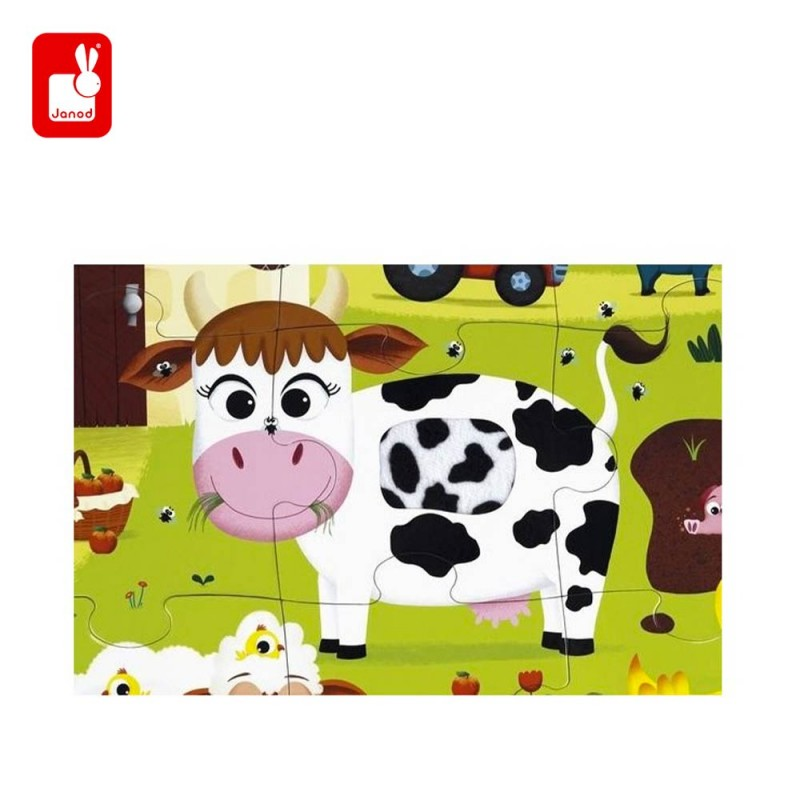 Puzzle tactile les animaux de la ferme par Janod- la vache