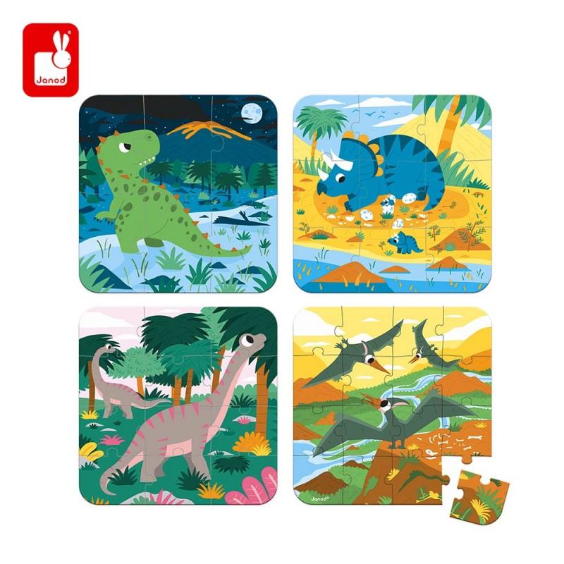 4 Puzzles évolutifs dinosaures pour les enfants avec valisette de Janod - 6,9,12 et 16 pièces.