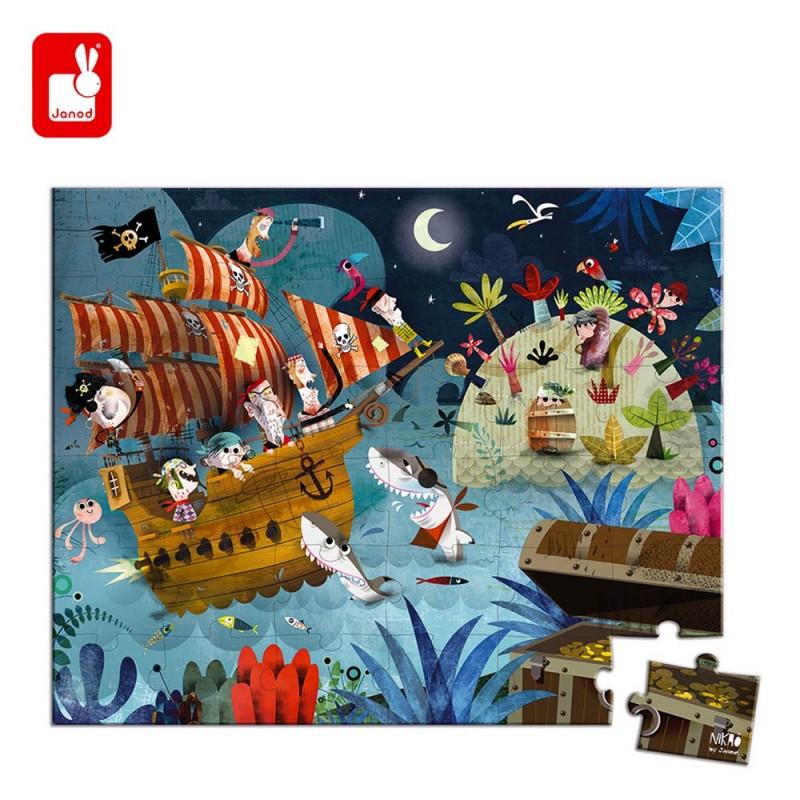 Puzzle Pirate chasse au trésor de 36 pièces de Janod